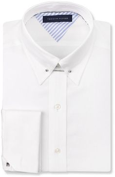 24e394fec5cba7 Tommy Hilfiger White French Cuff Dress Shirt with Collar Bar