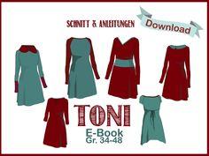 "E-Book Raglankleid ""Toni"" Diy Clothing, Sewing Clothes, Sewing Patterns Free, Clothing Patterns, Easy Sewing Projects, Sewing Ideas, Diy Dress, Pattern Fashion, Diy Fashion"