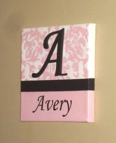 "Hand-Painted Wooden Wall Words on 8"" x 8"" Canvas-Single Letter and Name Pink Brown White- Made to order, select colors"