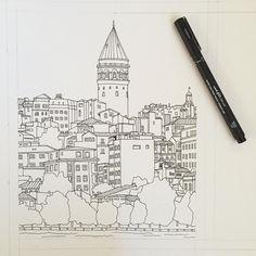 Istanbul Turkey. #art #drawing #pen #sketch #illustration #linedrawing #istanbul #turkey #city #cityscape #architecture #buildings City Sketch, Pen Sketch, Sketches, Oil Painting Pictures, Building Sketch, City Illustration, Turkey Art, Sketch Painting, City Art