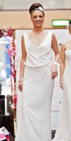 Adore - Ivory satin with soft cross over draped neckline, featuring Chantilly lace detail peeking through neckline and with low V-back. | Linda Gorringe Couture