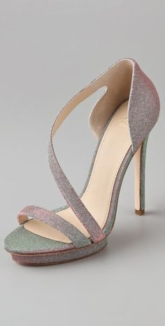 Bridesmaid shoes, beautiful and delicate enough for any nymph. B Brian Atwood Consort High Heel Sandals, $325.