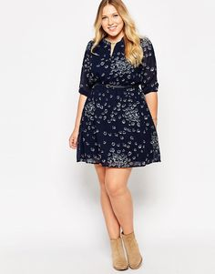 Image 4 of Yumi Plus Size Belted Dress In Pansey Print Latest Fashion Clothes, Curvy Fashion, Plus Size Fashion, Fashion Online, Plus Size Dress Outfits, Work Outfits, Belted Dress, Dress Skirt, Plus Size Belts