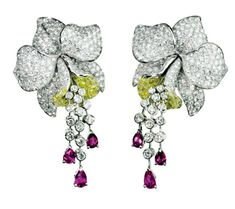 Cartier. Diamond, ruby & sapphire orchid earrings...♡