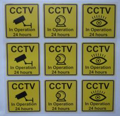 CCTV window sign printed on cling film which goes inside a window set of 9 UK