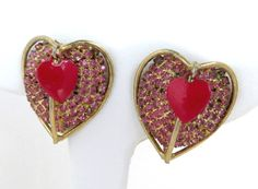 Fabulous Gift For Her! Vintage Vendome Double Heart Gold Tone Clip-on Earrings.   Pink Rhinestones, all intact, cover the large heart. A small Red Enamel Heart dangles from the top   ● The earrin... #clip-ons #jewellery #vintage
