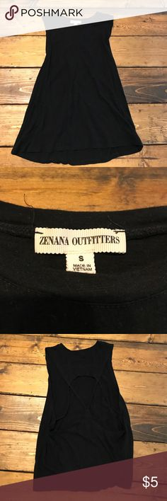 Cutout Tank Black tank with cross cross cutout back. Stretchy. No stains or damage. Worn once. S but would fit a medium best. Zenana Outfitters Tops Tank Tops
