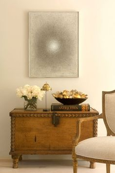 Antique furniture with modern finishes...a great look for a small space combining modern accents with antique furniture.
