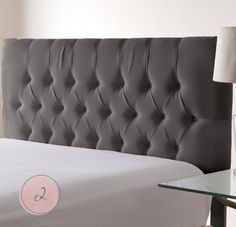 Grey tufted headboard - but I would like it a little lighter grey and velvet fabric