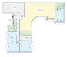 Plan Maison Plain Pied Chambres En L Maison Pinterest Father - Plan de maison plain pied 4 chambres