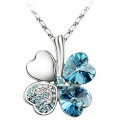 Crystal Heart Shaped Four Leaf Clover Pendant Necklace Aquamarine Blue Shiny Lovely Jewelry http://www.amazon.com/dp/B00ET9J9BE/ref=cm_sw_r_pi_dp_WGKwub09HJDRN