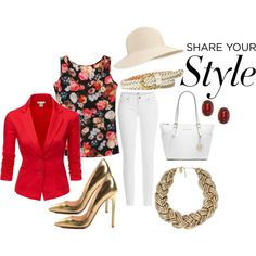 Spring Style by mstese on Polyvore featuring Doublju, Paige Denim, Christian Louboutin, Michael Kors, Kabella Jewelry, Nouv-Elle, Eric Javits and FOSSIL