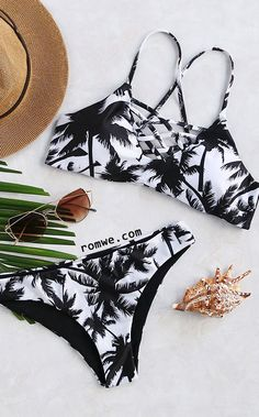 Black And White Printed Criss Cross Bikini Set