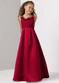 Charming satin and chiffon ball gown is elegant but youthful, perfect for your junior bridesmaid. Chiffon spaghetti strap bodice features fun flower detail along scoop neckline. Ruched waist flows into a floor-length satin skirt. Matches back to any of our satin or chiffon bridesmaids dresses. This style features an adjustable fit for added flexibility and comfort with fewer alterations. Fully lined. Imported polyester. Dry clean only. Available in our exclusive 44 color palette. Skinny…