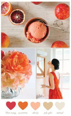 Color Palette: Blood Orange, Persimmon, Sherbet, Pale Gold, Oatmeal