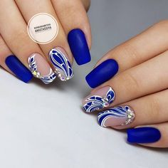 Blue coffin nails designs are so perfect for 2019 spring and summer! Hope they can inspire you and read the article to get the gallery. Nägel Ideen mit Edelsteinen 55 Trending Blue Coffin Nails Designs For You In 2019 Spring And Summer - Nail Art Connect Blue Coffin Nails, Blue Nails, Nail Art Hacks, Nail Art Diy, Beautiful Nail Art, Gorgeous Nails, Nail Designs Spring, Nail Art Designs, Hair And Nails