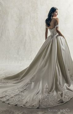 This satin ball gown wedding dress is both modern & vintage. An off-the-shoulder look complete with delicate details. Princess Ball Gowns, Princess Wedding Dresses, Designer Wedding Dresses, Bridal Dresses, How To Dress For A Wedding, Wedding Dress With Pockets, Dress Pockets, Sottero And Midgley Wedding Dresses, Sottero Midgley
