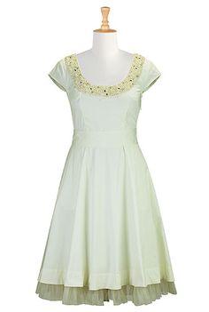 I <3 this Pearl crystal beaded poplin dress from eShakti