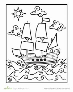 Mayflower Coloring Page Thanksgiving WorksheetsFree