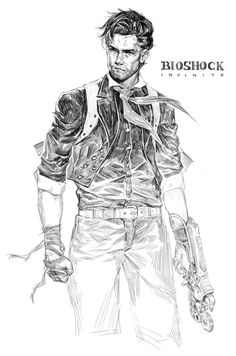 booker dewitt (bioshock and bioshock infinite) drawn by ekao - Danbooru Bioshock 2, Bioshock Infinite, Bioshock Series, Gaming Wallpapers, Game Concept, Game Character, Best Games, Easy Drawings, Art Sketches