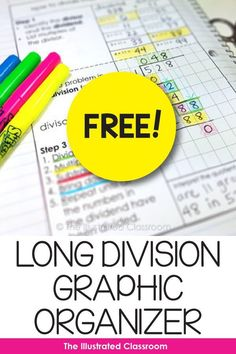 Free Math Graphic Organizer Free Math Graphic Organizer Printable worksheet for teaching long division. Long Division Activities, Teaching Long Division, Long Division Worksheets, Math Division, Teaching Math, Fraction Activities, Math Games, Long Division Strategies, Kindergarten Math