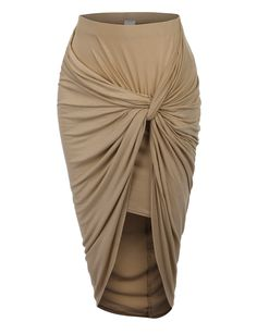 Wrap yourself in this super sexy asymmetrical banded waist wrap cut out hi low maxi skirt. Wear this super comfortable skirt to the beach as a swimsuit cover up and go for drinks at night with some se Beige Maxi Skirts, Beige Pencil Skirt, Maxi Pencil Skirt, Bodycon Midi Skirt, Beige Skirt, Hi Low Maxi, Hi Low Skirts, Long Skirts, Draped Skirt