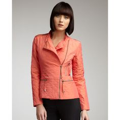 Quilted Wind Jacket, Polyvore via Neiman Marcus   It's quilted, it's coral!