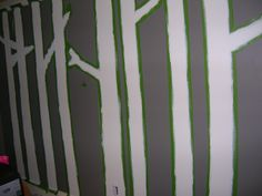 diy paint a forrest | ... coat of white paint on gray wall for diy wall art birch tree painting