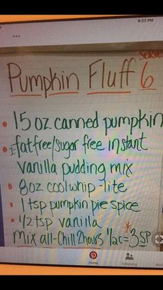 I'll use regular vanilla pudding, extra creamy cool whip and adjust the pumpkin pie spice to my taste. Fluff Desserts, Weight Watchers Desserts, Sugar Free Desserts, Low Carb Desserts, Just Desserts, Fall Desserts, Delicious Desserts, Healthier Desserts, Ww Recipes