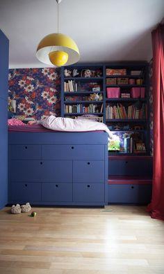 chambre enfant sur-mesure papier peint jazz aqua multicolore au fil des couleurs