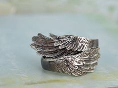 sterling silver wing ring set WINGED oxidzied by plasticouture
