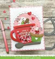 Lawn Fawn Blog, Karten Diy, Lawn Fawn Stamps, Coffee Cards, Interactive Cards, Handmade Tags, Marianne Design, Shaker Cards, Winter Cards