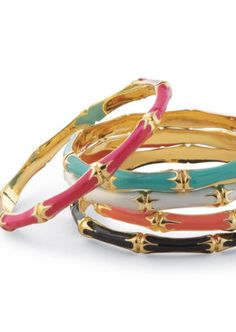 Bamboo Enamel Bangle Bracelets.