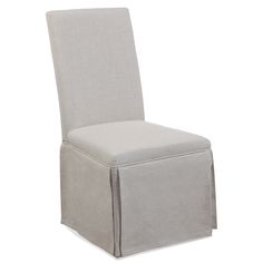 """The Parsons skirted dining chair melds vintage elegance and casual design, ideal for dining rooms and kitchens. Upholstered in simple, gray linen, this plush seat stuns with a sophisticated pleats. 20""""W x 25""""D x 39""""H. 39 lbs.. Set of 2. Spot cleaning recommended."""