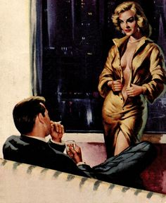 """She seems prepared for the evening, less clothes to remove. She appeared on the paperback """"Make Me An Offer"""" by Charles Gorham."""