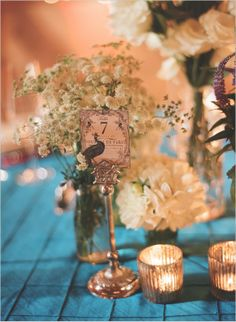 Love this blue and gold combination for a table scape