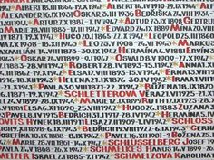 Detail from one of the Pinkasova Synagogue memorial walls, painted with the names of the 77,297 Czech Jewish victims of the Holocaust.