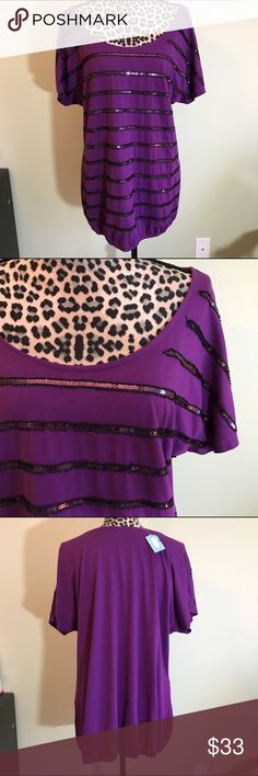 💜NWT Fabulous purple sparkle top Purple top with sparkles. Elastic bottom. Sadly reposhing since it didn't fit me. NWT, size 1. Maurices Tops