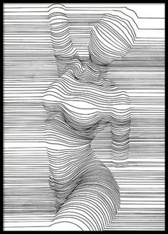 Buy art prints, poster art and fineartprint at Desenio! Discover our selection of abstract art prints and digital, graphical as well as finer illustrations. Our modern art prints goes perfectly with trendy home interiors. Op Art, Contour Line Art, Linear Art, Scribble Art, Illusion Art, Modern Art Prints, Art Inspo, Art Drawings, Canvas Art