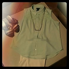 Top Mint green button down with lace Metaphor Tops Blouses