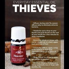 Young Living Thieves Essential Oil is so versatile!! Great to diffuse, drop under my tongue, rub on me feet and use as a household cleaner.. Supporting & boosting my immune system while killing viruses, bacteria & mold.. Comes in Premium Starter Kit!