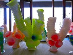 cups, sprayed and stacked, cool coral plants from cups, not sure where we could use this but it looks cool.