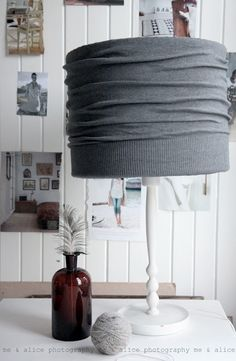 Cardigan over lampshade for instant/cheap change.