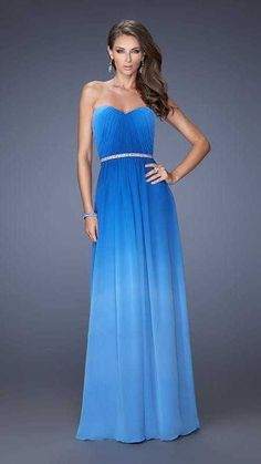 Cheap Strapless Sweetheart Sapphire Blue Prom Dresses by La Femme 19989