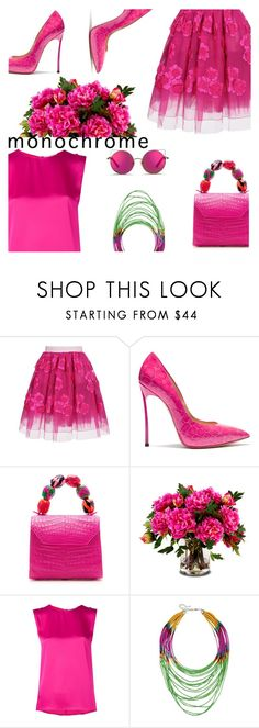 """""""over pink monochrome"""" by iraavalon ❤ liked on Polyvore featuring Marc Jacobs, Casadei, Nancy Gonzalez, New Growth Designs, Maison Rabih Kayrouz, Dettagli and Matthew Williamson"""