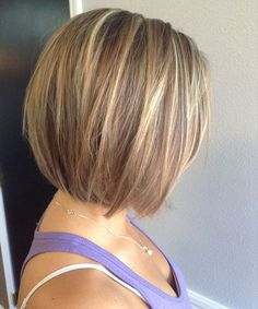 Blonde Highlights with Straight Brown Short Hair Hair styles Short Stacked Haircuts, Short Bob Haircuts, Blonde Haircuts, Straight Haircuts, Short Cuts, Short Hair Cuts For Women Bob, 2015 Hairstyles, Cool Hairstyles, Hairstyle Ideas