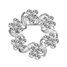 2PCS Womens Fancy Brooch Elegant Brooches and Pins With Clear Crystals, No.4 * Click image for more details.