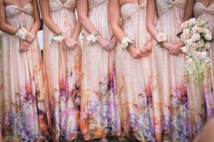 A little quieter print would be gorgeous, I also love the idea of corsages for the bridesmaids instead of bouquets!!