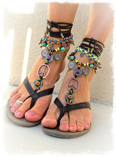 Hippie Boho PEACE sign BAREFOOT sandals Black and Copper Gypsy Sandals Crochet toe ankle wrap Toe thongs Black sandal Garden wedding GPyoga