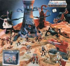 An advertisement for Masters of the Universe toys that prominently features the Eternia playset Retro Toys, Vintage Toys, 1980s Toys, Master Of The Universe, Universe Art, Ulysse 31, He Man Figures, 1980 Cartoons, Masters
